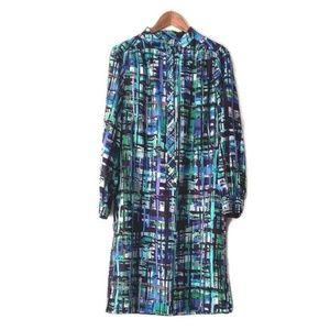 Leslie Fay Blue & Green Abstract Print Dress
